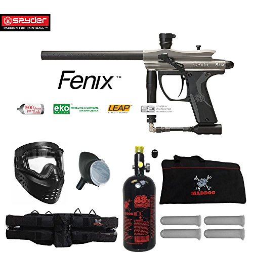 MAddog Spyder Fenix Beginner HPA Paintball Gun Package - Silver/Grey ()