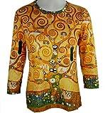 Breeke & Company Women's Gustav Klimt Tree of Life 3/4 Sleeve Micro Blend Top