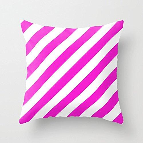 (Decorative Square Pillow Case Cushion Cover 24X24 Inches Diagonal Stripes Throw Pillow)