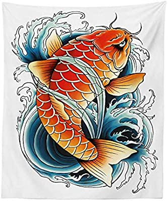 Soefipok Koi Fish Tapestry, Dibujo Estilo Tatuaje de Angry Sacred ...