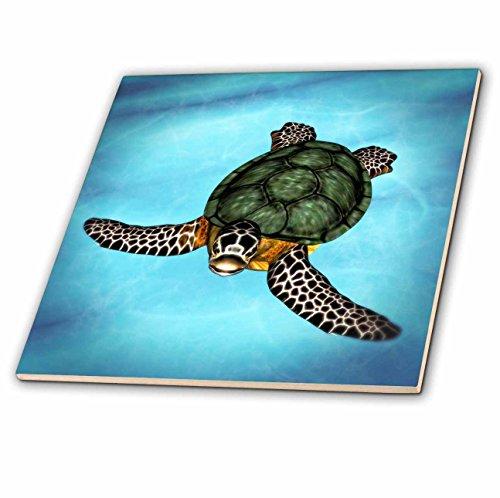 - 3dRose ct_127564_2 Sea Turtle Swimmingin The Ocean Ceramic Tile, 6-Inch