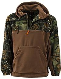 Trail Crest Mens Fleece Hunting Camouflage 1/4 Zip Hooded Sweatshirt