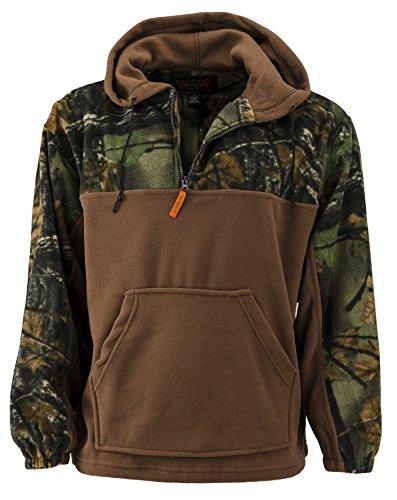 Trail Crest Fleece Hunting Camouflage 1/4 Zip Hooded Sweatshirt (2X, Brown)