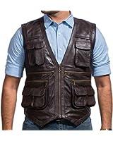 Chris Pratt Jurassic World Vest in Brown Leather