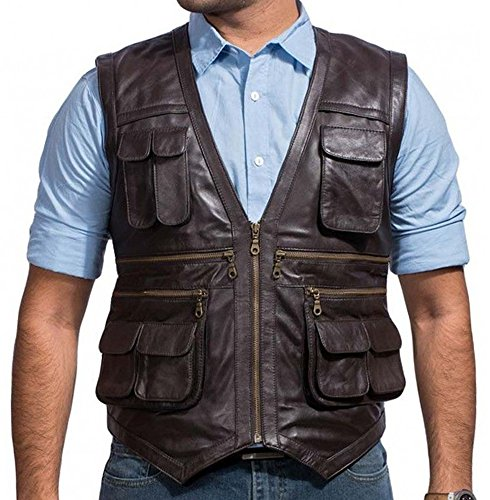 Exchange Leather Vest - Chris Pratt Jurassic World Vest in Brown Leather (Medium)