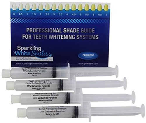 (Professional Dental Strength 35% FAST ACTING Teeth Whitening Gel. Includes 4 XL 10cc Syringes of Whitening Gel! Up TO 120 Applications! Made in USA!)