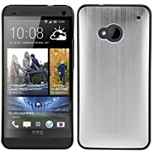 kwmobile Premium hard case for HTC One M7 with reinforced back of brushed aluminium in silver