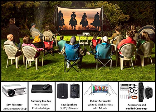 Recreation Series System | 15' Front and Rear Projection Screen with Savi 3000 Lumen HD Projector, Sound System & Blu-Ray Player w/WiFi (EZ-600)