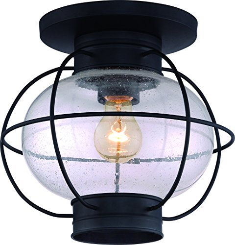 Luxury Nautical Outdoor Ceiling Light, Small Size: 10.5'H x 11.5'W, with Art Deco Style Elements, Cage Design, High-End Black Silk Finish and Seeded Glass, UQL1034 by Urban Ambiance
