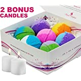 7 Luxurious Bath Bombs Gift Set (FREE BONUS of 2 Votive Candles). USA Handmade Ultra Lush Spa Bath Fizzies 4.5 oz. each, Organic Essential Oil, Fizzy & Colorful, Aromatherapy & Moisturizing, Vegan & Gluten Free Kit - Best Gift Ideas for Weddings & Showers