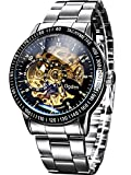 Carrie Hughes Men's Steampunk Automatic Watch Self-winding Skeleton Mechanical Stainless Steel CH88226GA