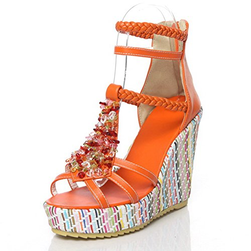 VogueZone009 Womens Open Toe High Heels PU Soft Material Solid Sandals with Platform and Bead Orange wCycB