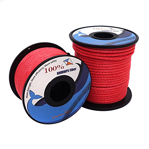emma kites Red UHMWPE Braided Cord High Strength Least Stretch Tent Tarp Rain Fly Guyline Hammock Ridgeline Suspension for Camping Hiking Backpacking Survival Recreational Marine Outdoors 100Ft 580Lb by emma kites (Image #7)