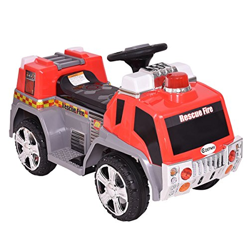 New 6V Kids Ride On Rescue Fire Truck Electric Battery Powered w/Lights&Music (Fire Ride Rescue On Truck)