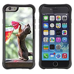 Hybrid Anti-Shock Defend Case for Apple iPhone 5s Inch / Squirrel Drinking