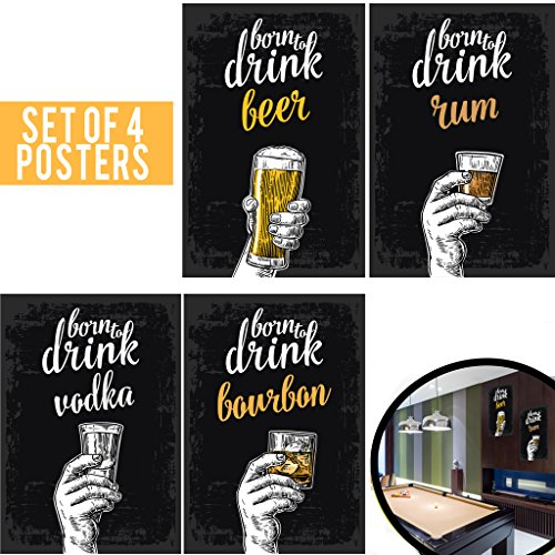 Set of Four 11x17 College Posters; Great Living Room Bar Ideas, Birthday for Him or Bar Sign Decor. Funny Vintage Wall Art (Bar Ideas For Living Room)