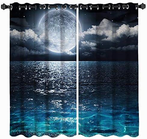 VividHome Full Moon Window Curtains Blue Sea Ocean Window Treatments Nature Curtains 2 Panel Set