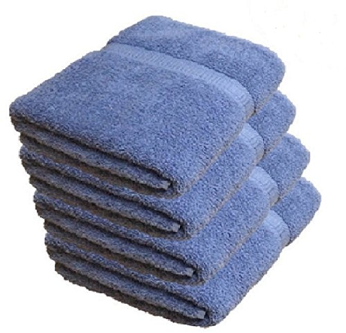 Deluxe 100% Cotton Bath Towels, Easy Care Affordable, Cotton Towels for Maximum Softness and Absorbency, 4-Pack – Blue