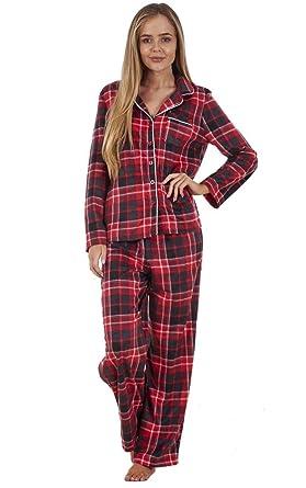 f10387ae1d Conjunto de Pijama para Mujer - Franela de algodón - Camisa Abotonada -  Cuadros Escoceses Rojos - EU 46  Amazon.es  Ropa y accesorios