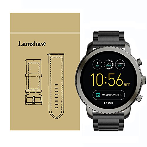 Gen Metal (Lamshaw Smartwatch Band for Fossil Q Explorist, Stainless Steel Metal Replacement Straps for Gen 3 Smartwatch - Fossil Q EXPLORIST SMOKE (Black))