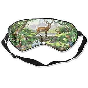 WUGOU Máscara de Dormir para Ojos de árboles y Conejos, Ligera, Suave, con Correa Ajustable para la Cabeza