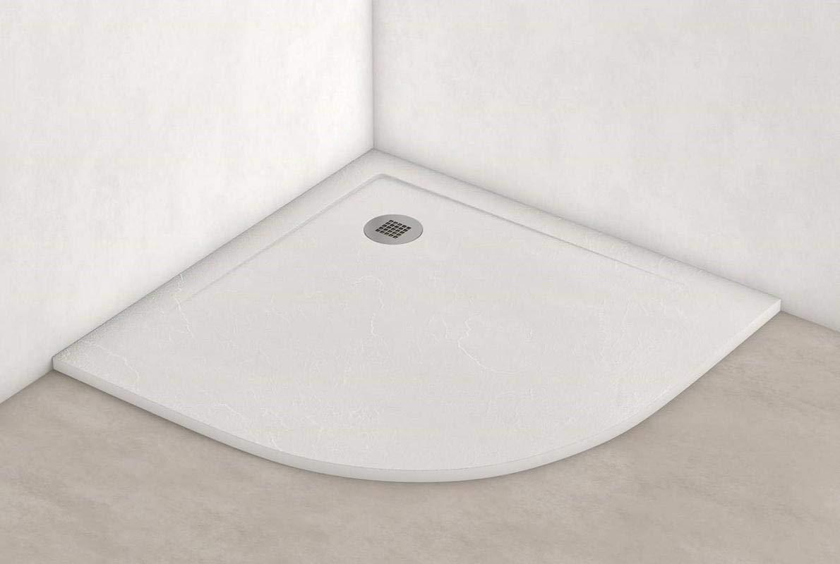 Plato ducha resina antideslizante textura pizarra Smooth Bricodomo 90x90 Semicircular Gris