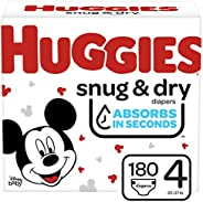 Huggies Snug & Dry Baby Diapers, Size 4, 180 Ct, One Month Su