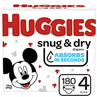 Huggies Snug & Dry Baby Diapers, Size 4, 180 Ct, One Month Supply