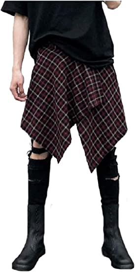 cheelot Men's Buttoned Asymmetric Hem Fashion Pants Fashion Culottes Trousers
