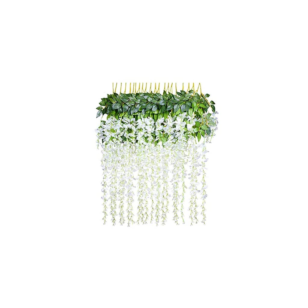 GZQ 12 Pack Artificial Flowers Floral Fake Silk Wisteria Vine Wedding Bouquets Centerpieces Arrangements Birthday Baby Shower Home Office Party Decor Halloween (White)