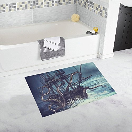 InterestPrint Pirate Ship Catched by Octopus Tentacles Decor Non Slip Bath Rug Set Absorbent Floor Mats for Bathroom Tub Bedroom Large Size 20 x 32 Inches ()