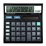 ZHAS Solar Calculator, Desktop 12 Digital Calculator, Crystal Button Black Calculator For Office/School/Store