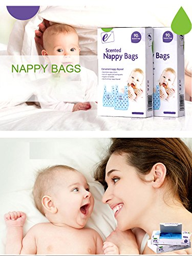 ELSKY Scented Nappy Bags, Baby Disposable Diaper Sacks (Blue / 90 Count)