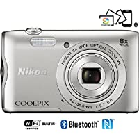 Nikon Coolpix A300 20.1MP 8x Optical Zoom NIKKOR WiFi Silver Digital Camera 26519B - (Certified Refurbish)