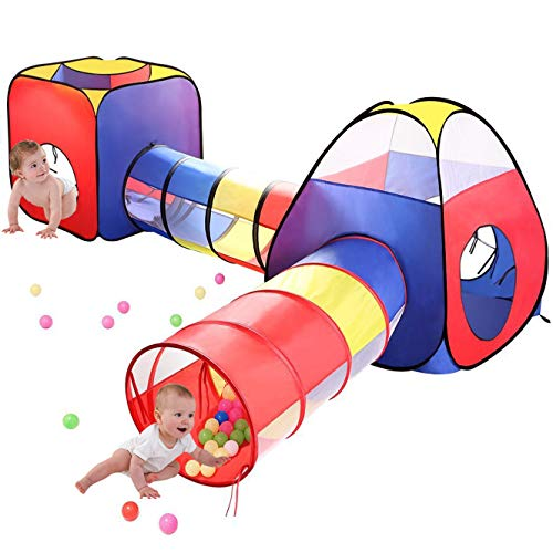 MRSGUO 4pc Kids Play Tents and Tunnels,Toddler Jungle Gym Play Tent with Play Crawl Tunnel Toy, for Boys Girl Infants…