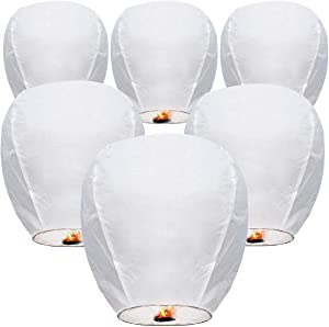 Chinese Paper Lanterns Sky Lanterns (6-Pack) Environmentally Friendly Lanterns for New Years, Festivals, Memorials & More!