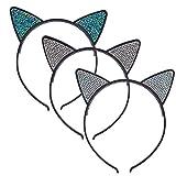 Lux Accessories Black Faux Silver Rhinestones Kitty Cat Ears Headband Set of 3
