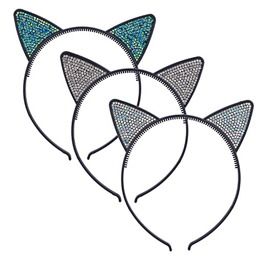 Lux Accessories Black Faux Silver Rhinestones Kitty Cat Ears Headband Set of 3 ()