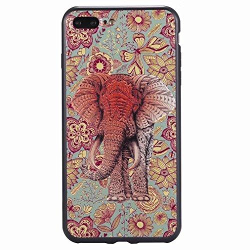 Yiizy Hülle Apple IPhone 7 Plus Schale, Elefant Ultra Slim Klar Transparent handy taschen Schutzhülle Anti-Kratzer Weich TPU Silikon Cover Flexibel Gummi Haut Bumper Leicht Schutz Kristall Langlebig H