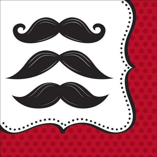 Creative Converting Mustache Madness Lunch Napkins, 16 Count -