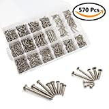 LANIAKEA Phillips Self Tapping Screws Kit, 570 Pcs / M3.5 M4.2 M4.8 M5.5 / Round Pan Head & Flat Head Stainless Steel Screw Set with Storage Organizer Case