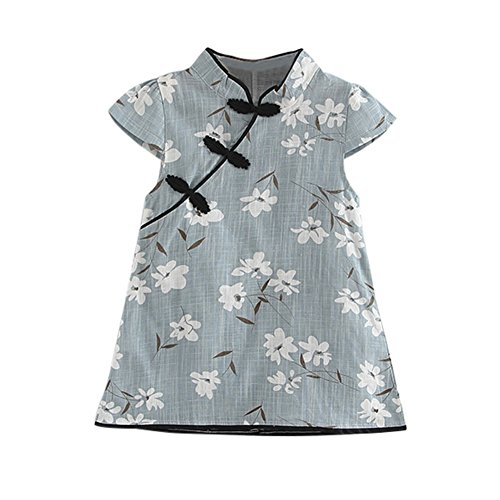 Timall Girls' Cheongsam Chinese Qipao Short Sleeve Traditional Floral Dress Children Clothing -