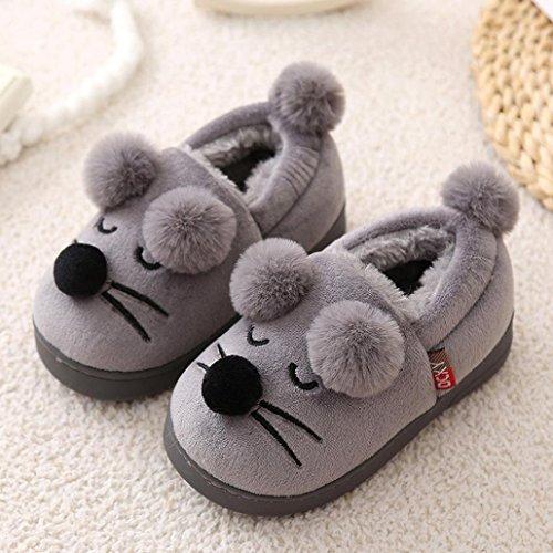 Igemy Netter Kleinkind Bogen Baby Jungen Mädchen Plüsch Soft Sole Anti-Rutsch Warm Samt Schnee Schuhe 1 Paar Grau