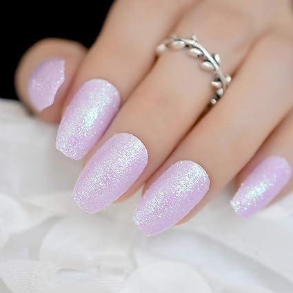 EchiQ Julio - Clavos falsos iridiscentes morados para uñas de bailarina de coffin con purpurina brillante