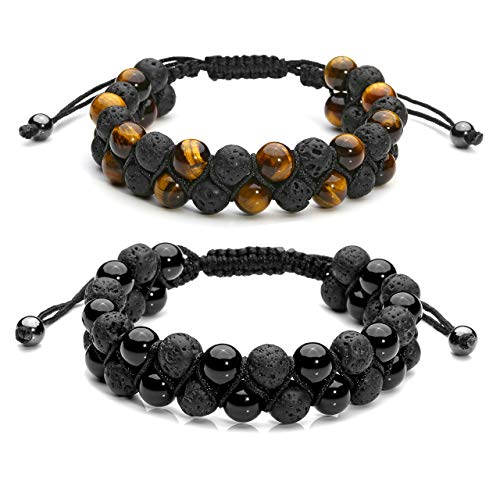 Jovivi 2pcs Mens Lava Rock Stone Essential Oil Bracelet Tiger Eye Agate Beads Double Layer Bracelets Macrame Adjustable Braided