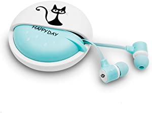 QearFun Stereo 3.5mm in Ear Cat Earphones Earbuds with Microphone with Earphone Storage Case for Smartphone MP3 iPod PC Music (Blue)
