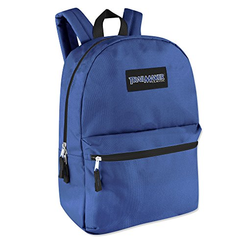 Classic Traditional Solid 17 Inch Backpacks with Adjustable Padded Shoulder Straps by Trail maker (Image #1)