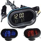 FidgetFidget Dual Display LED Digital Car Clock Thermometer Temperature Voltmeter DC12/24V Green and Orange