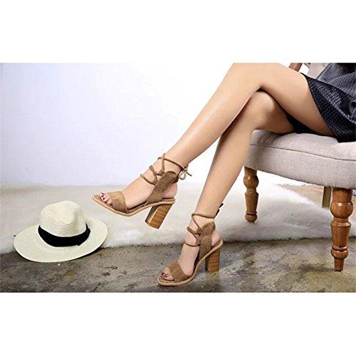 Gamuza Vendaje Sandalias Talón de Madera Zapato Cordones Romanas Talón Grueso Zapatos de Tacón Alto Verano Zapatillas Mujer Marrón