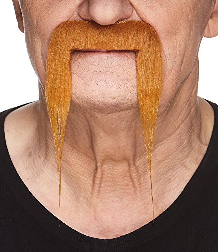 Mustaches Self Adhesive Fake Mustache, Novelty, Fu Manchu False Facial Hair, Costume Accessory for Adults, Ginger Color]()